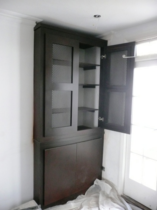 dark stained fitted alcove wardrobes